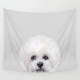 Bichon illustration, Dog illustration original painting print Wall Tapestry