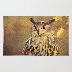 European Eagle Owl Watercolor Art Rug