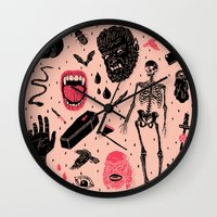 face Wall Clocks featuring Whole Lotta Horror by Josh Ln