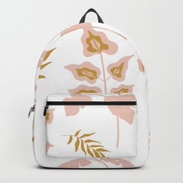 Brown and Pink Leaves Pattern Design Backpack