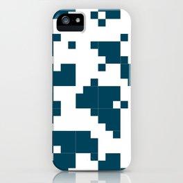 Small Pixel Big Pixel - Geometric Pattern in Dark Blue iPhone Case