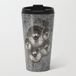 Music speakers on a concrete wall Travel Mug