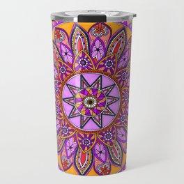 Pink and Orange Mandala Art Travel Mug