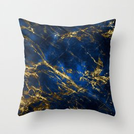 Exquisite Blue Marble With Luxury Gold Veins Throw Pillow