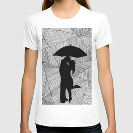 Man and Lady with Umbrella Silhouette  T-shirt