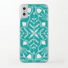 Turquoise Batik Clear iPhone Case