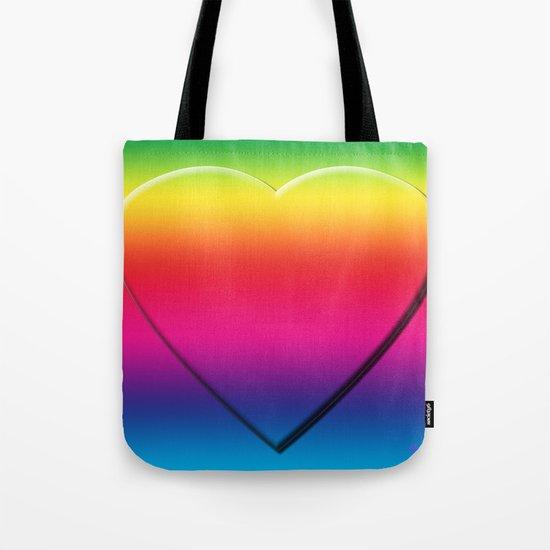 One Heart Rainbow Tote Bag