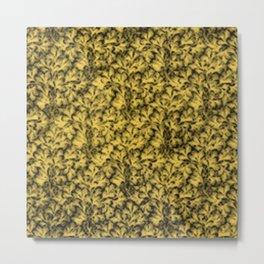 Vintage Floral Lace Leaf Primrose Yellow Metal Print
