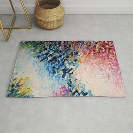 PARADISE DREAMING Colorful Pastel Abstract Art Painting Textural Pink Blue Tropical Brushstrokes Rug