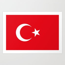 National flag of Turkey, Authentic color & scale Art Print