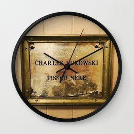 'Charles Bukowski Pissed Here' Framed Marker at Cole's Pacific Saloon, Los Angeles Wall Clock