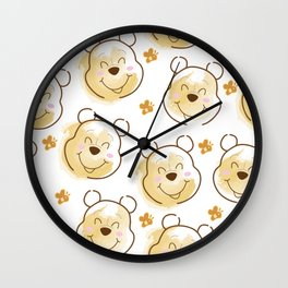 Inspired Pooh Bear surrounded with bees Pattern on White background Wall Clock