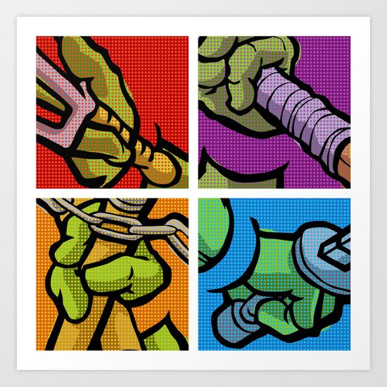 Lichtenstein Pop Martial Art Chelonians Set Art Print