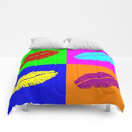 Colorful pop art lipstick kiss Comforters