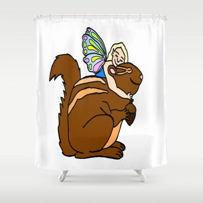 Faerie Hugging Squirrel Shower Curtain