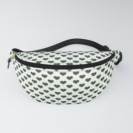 Large Dark Forest Green Love Hearts on White Fanny Pack