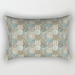 N113 - Vintage Antique Traditional Moroccan Tiles Style Artwork. Rectangular Pillow