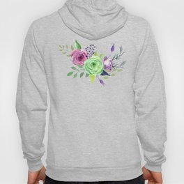 Posy GREEN AND VIOLET Painted - bouquet, nosegay, flower Hoody