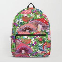 Swedish Toadstool Woodland Robins Floral Backpack