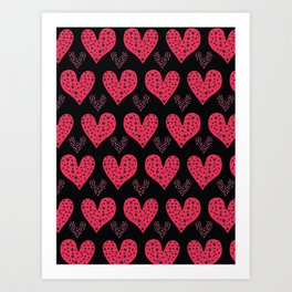 Red brush stroke dotty love hearts with 1950s style polka dots Art Print