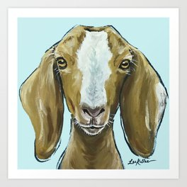 Goat Art, Cute Farm Animal Painting Art Print
