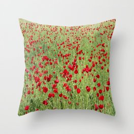 A Pasture Of Red Poppies and Remembrance Throw Pillow