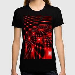 Red glowing net fractal T-shirt