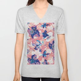 Blue, white and pink flowers collage Unisex V-Neck