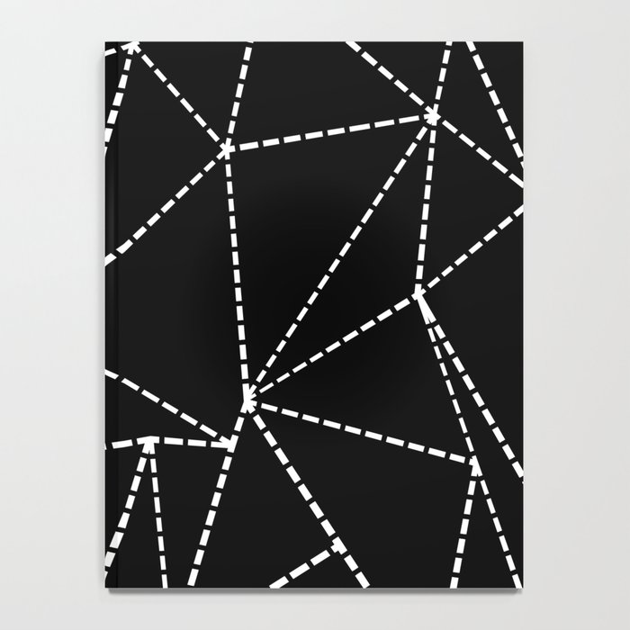 Abstract Dotted Lines White on Black Notebook