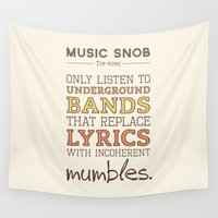 bands Wall Tapestries featuring Mumbling Bands — Music Snob Tip #095 by Elizabeth Owens
