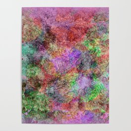 Colorful Abstract Water Color Misty Swirls Design Poster
