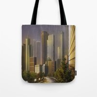 cityscape Tote Bags featuring Cityscape by Viggart