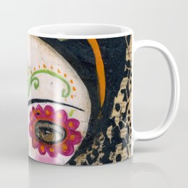 Frida The Catrina - Dia De Los Muertos Painted Skull Mixed Media Art Coffee Mug