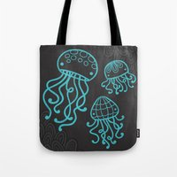 jellyfish Tote Bags featuring Jellyfish by Liz Urso