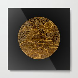 Golden Zen Landscape on Black Metal Print