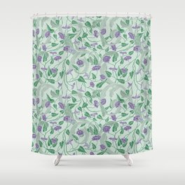 Purple morning glory with ornaments on light green background Shower Curtain