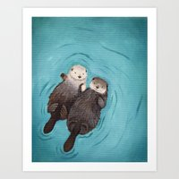 pun Art Prints featuring Otterly Romantic - Otters Holding Hands by When Guinea Pigs Fly