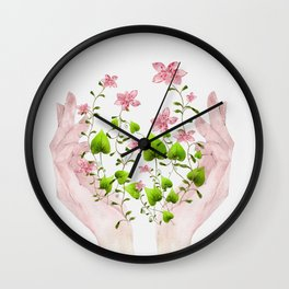 Blooming Hands Wall Clock