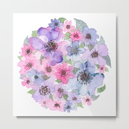 Purple, Pink, Blue Flowers in a Circle Metal Print