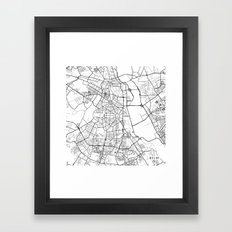 Delhi Map, India - Black and White Framed Art Print
