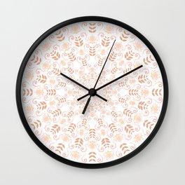 Rosey peach spring floral mandala Wall Clock