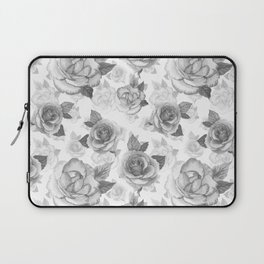 Hand painted black white watercolor roses floral pattern Laptop Sleeve