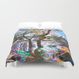 Trees Pond and Light Streams Duvet Cover