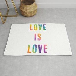 Love is Love with Rainbow Gradient Rug