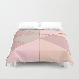 Modern rose gold peach blush pink color block Duvet Cover