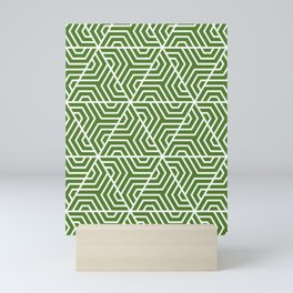 Sap green - green - Geometric Seamless Triangles Pattern Mini Art Print