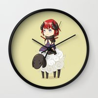 knitting Wall Clocks featuring Knitting Adventure by Freeminds