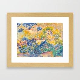 Henri-Edmond Cross Neo-Impressionism Pointillism The Artist's Garden at St. Clair Watercolor Paintin Framed Art Print
