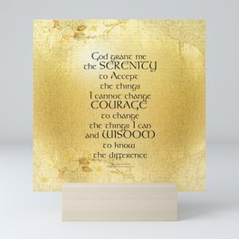 Serenity Prayer Kelt on Yellow Mini Art Print