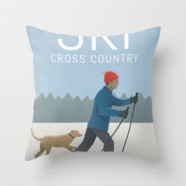 Ski Cross Country Throw Pillow